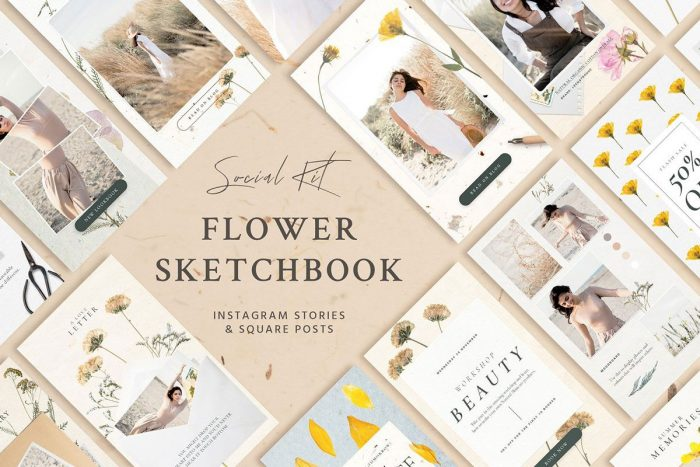 flower sketchbook stories social kit