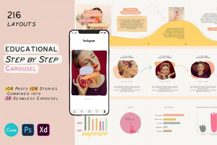 Educational carousel template for instagram
